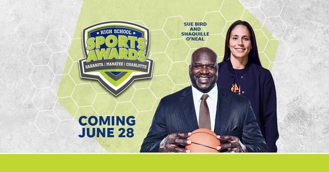 asketball Hall of Famer Shaquille O'Neal and WNBA World Champion Sue Bird to present Athlete of the Year awards at the Sarasota High School Sports Awards.