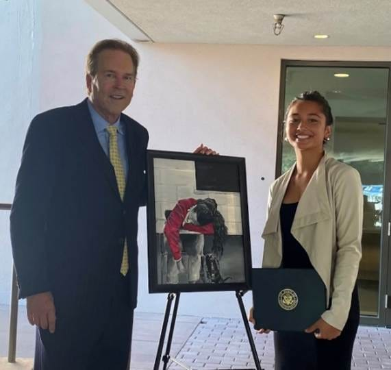 """Silia Matelau of Bradenton Christian School and her art, """"Math Class,"""" finished first in Rep. Vern Buchanan's 16th Congressional District."""