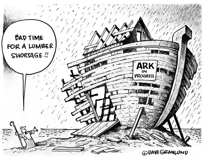 Trying to build an ark during a lumber shortage isn't ideal.