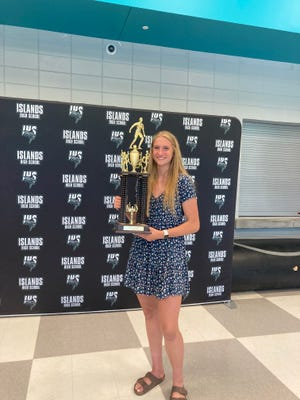 Islands High School sophomore Veronica Sierzant received the Hollis Stacy Award on Tuesday at Islands. She starred for the Sharks volleyball, basketball and soccer teams and was part of the track team's 4x800-meter relay that qualified for the state meet this season. Last Friday, Sierzant was named the award winner, given to the most versatile female high school athlete in Savannah.