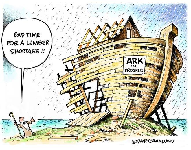 Granlund cartoon: Lumber shortage Dave Granlund cartoon on lumber shortages.