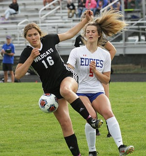 Three Rivers' Illy Taylor stops a ball from getting to the goal box against Edwardsburg on Mondy.