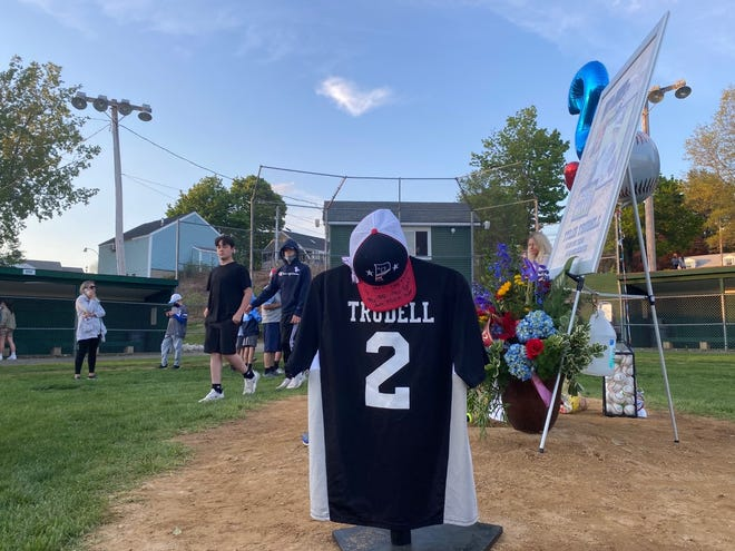 A heart-shaped cloud formed over Tivnan Field in Paxton on Monday evening, as friends and teammates gathered to remember Tyler Trudell, a 13-year-old Little League player who died unexpectedly last week.