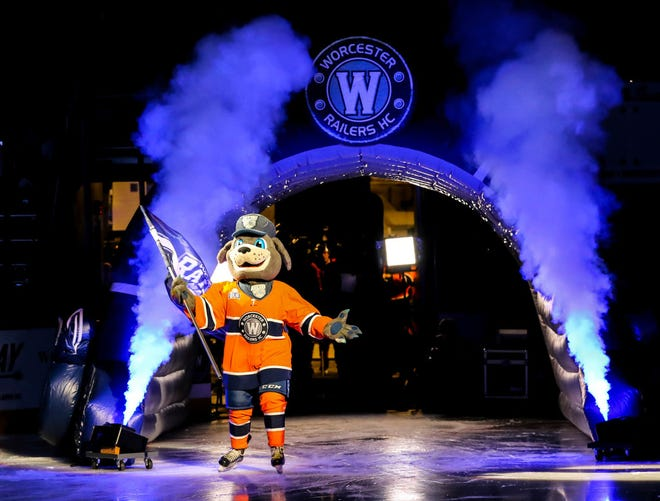 Worcester Railers mascot Trax enters the ice ahead of the team's home opener against the Adirondack Thunder at the DCU Center.