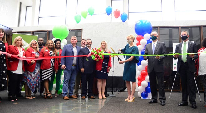 A ribbon-cutting ceremony was held on Tuesday, May 18, 2021, for the opening of the new Regions Bank branch building in downtown Tuscaloosa and the opening of the neighboring West Alabama Workforce and Community Development Center.