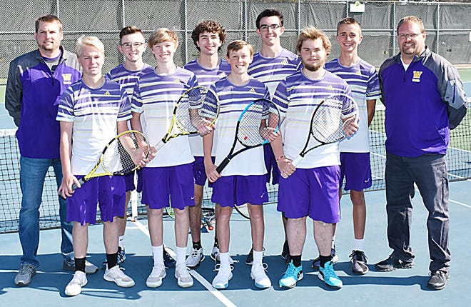 Members of the 2021 Watertown High School boys tennis team that will conclude its season Thursday and Friday in the state Class AA tournament at Sioux Falls include, from left in front, Jacob Meester, Curtis Sneden, Justin Remmers and Zandar Binde; and back, asssitant coach Nathan Albertson, Mark Mahowald, Adam Kays, Sam Mahowald, Evan Meester and head coach Ryan Zink.