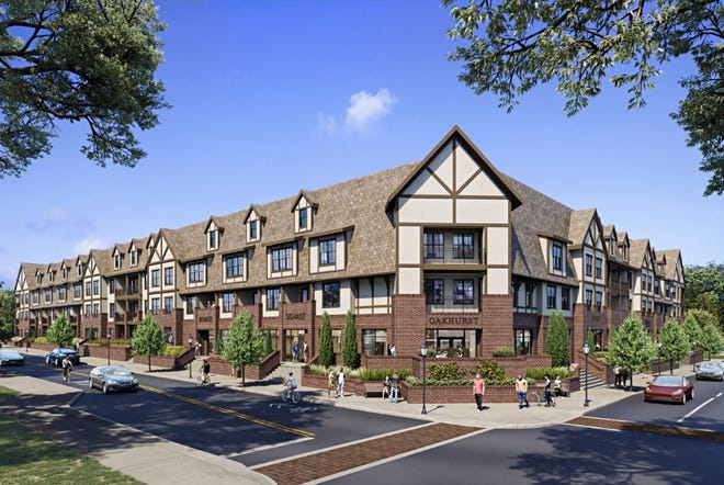 Renderings presented by developers during a virtual neighborhood meeting in May show the planned Oakhurst mixed-use development, proposing 191 new residential units along Charlotte Street at the former Fuddruckers property.