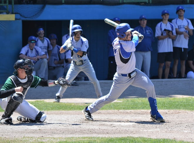 Kellogg CC's Jayden Dentler takes a swing during early action in the NJCAA Region XII Tournament. KCC advanced to the regional final with a win over Kalamazoo Valley CC on Monday.