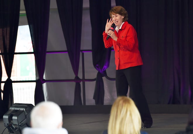 Comedian Jane Condon performs under the ReStART Tent at Goodwill Theatre's Schorr Family Firehouse Stage in Johnson City. The recently added tent is the site of live theater, comedy and music events. Saturday, May 15, 2021.