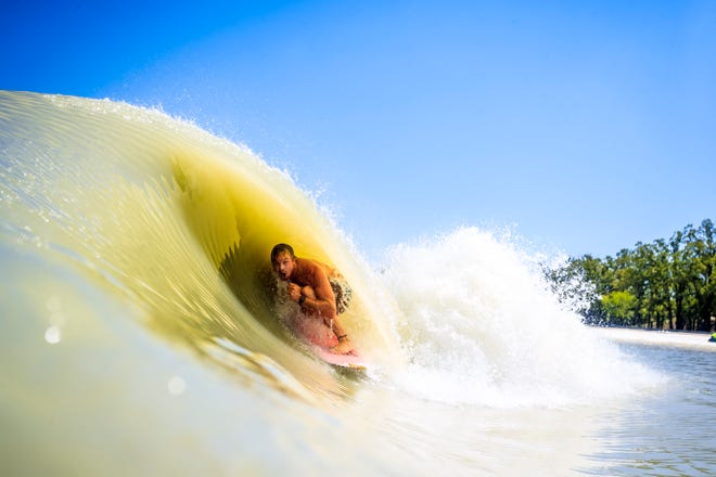 Jamie O'Brien surfing at BSR wave pool in Waco, Texas on April 26, 2018. // Domenic Mosqueira / Red Bull Content Pool // SI201806120208 // Usage for editorial use only //