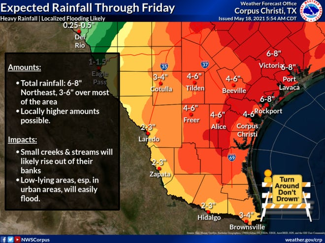 The Corpus Christi area is forecasted to receive 4 to 6 inches of rainfall through Friday. The National Weather Service issued a Flash Food Warning for the area that will last until Friday at 1 p.m.