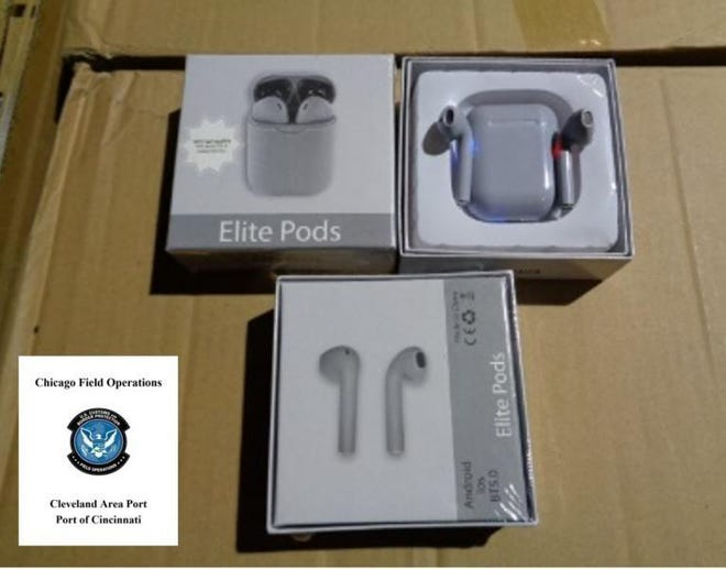 U.S. Customs and Border Protection officers in Cincinnati recently seized 36,000 fake Apple AirPods contained in three large shipments of goods headed to Dayton, Kentucky.