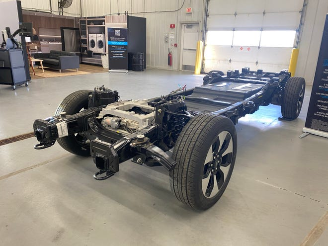The 2022 Ford F-150 Lightning electric pickup's frame is entirely different from the internal combustion-powered F-150.