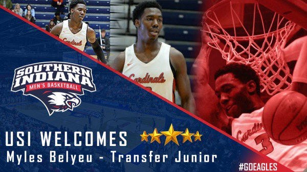 USI men's basketball received a commitment from Saginaw Valley State transfer Myles Belyeu on Tuesday.