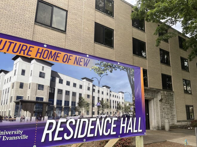 The new residence hall on the University of Evansville campus will replace the aging Morton and Brentano halls. Officials held a groundbreaking ceremony for the building on May 18, 2021.