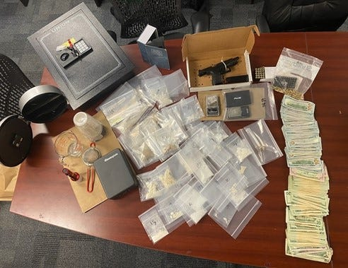 A Fort Myers police report said investigators found drugs, cash and a weapon in a room at a Fort Myers hotel after stopping a man for a traffic violation Friday.