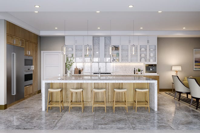 These renderings show a modern clean style in the new Omega tower at Bonita Bay.