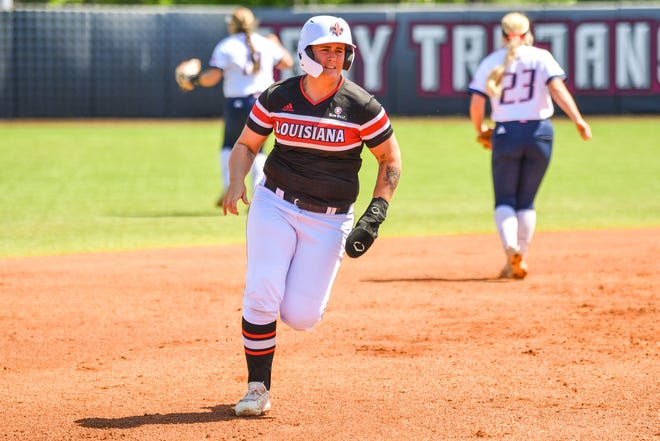One of Ragin' Cajuns shortstop Alissa Dalton's three hits in UL's Sun Belt title game win over South Alabama on Saturday in Troy, Alabama, was a two-run home run.