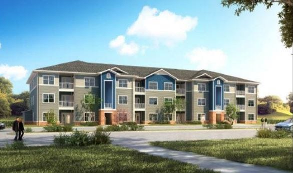 A rendering of a proposed affordable housing complex at 4801 Manslick Road in Louisville.