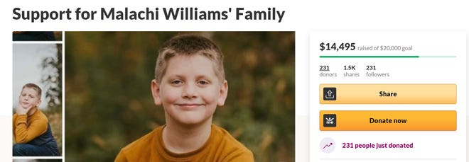 Malachi Williams was killed in a bus-bicycle crash May 17, 2021, in Grand Ledge