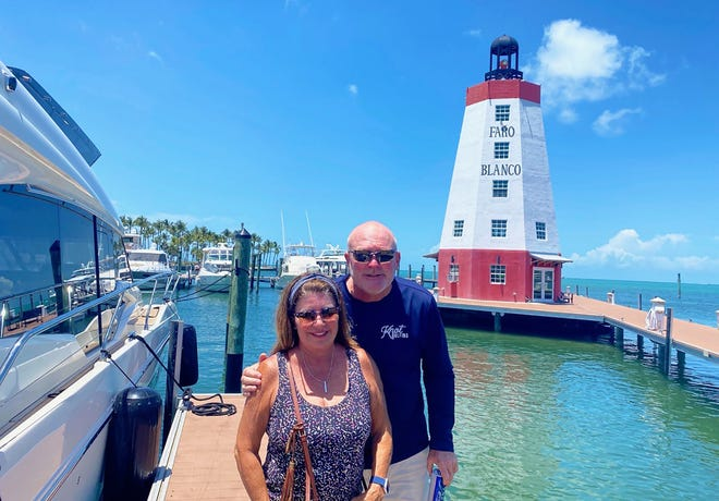 The Marco Cruise Club recently took a trip southward to Marathon Key for three nights of spring fun. Above, Cindy and Sean McKeown.