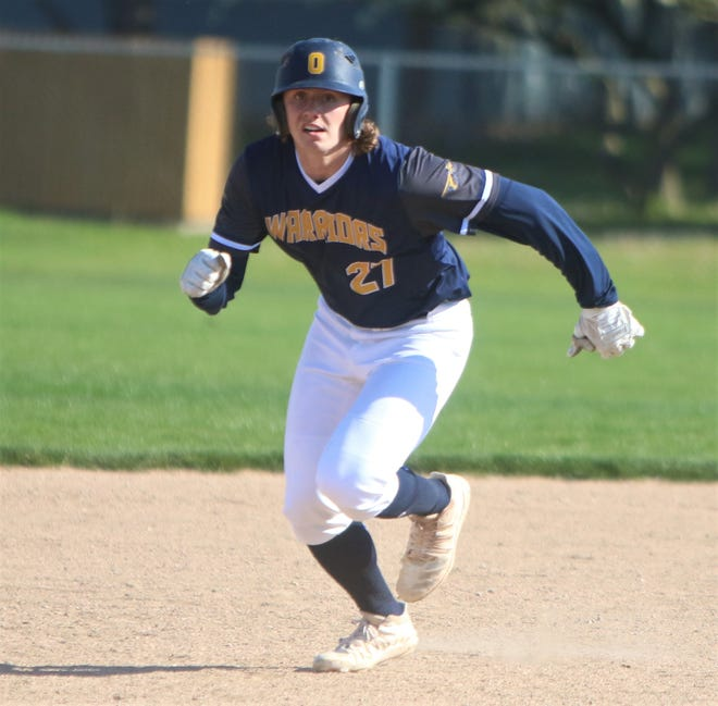 Ozaukee senior Noah Miller takes off on a base hit during a game on May 18, 2021.