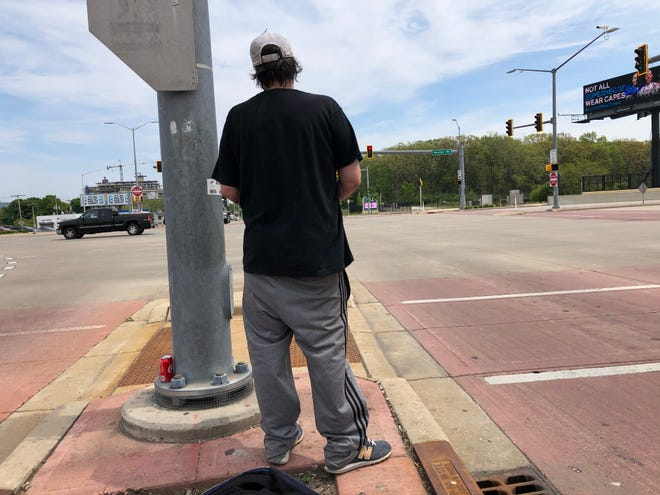 Mike is a panhandler who has been asking for money near West Blue Mound and North Mayfair roads.