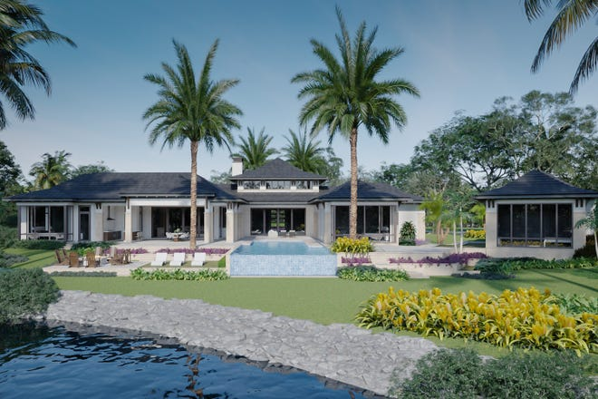 A view of the main residence and gate house with second-floor cabana of Diamond Custom Homes' first Rum Row spec home.