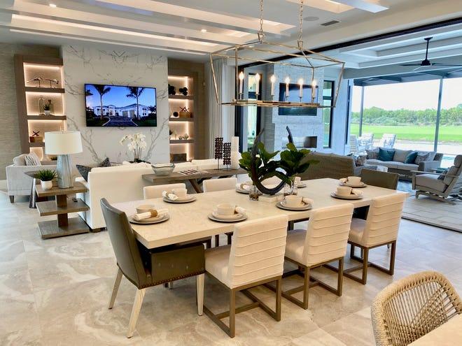 The Domenica II model in Peninsula Treviso Bay has an open floor plan and was designed for indoor/outdoor living.