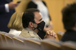 Maricopa County Sheriff Paul Penzone listens May 17, 2021, during a Board of Supervisors meeting about the Arizona Senate audit of ballots from the 2020 general election.