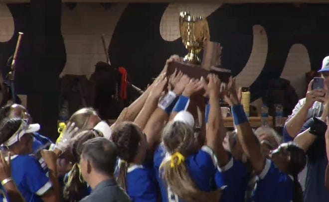 May 17, 2021; Xavier Prep softball team raises its 6A state championship trophy at University of Arizona's Hillebrand Stadium in Tucson, Ariz.