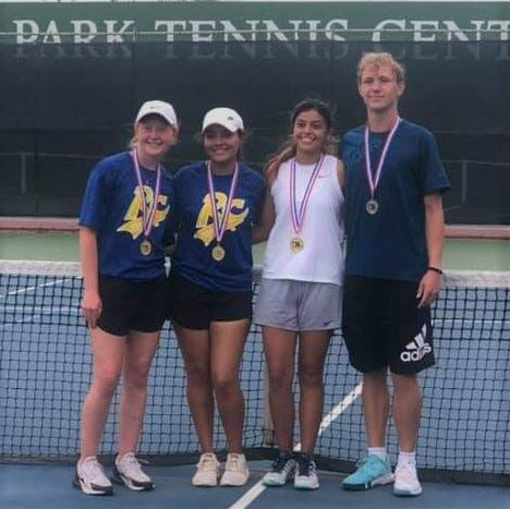 Reagan County High School tennis players, from left, Shyan Darr, Delaney Yanez, Lizbeth Hernandez and Logan Knight will be competing at the UIL Class 3A state tournament in San Antonio this week.
