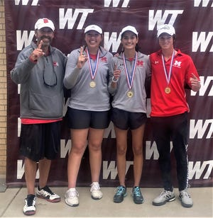 Miles High School head tennis coach Jared Graves is sending three players to the UIL Class 2A state tournament this week in San Antonio. Regan Smithwick (next to her coach) and Katelynn Graves will compete in girls doubles, and Austin Askins advanced in boys singles.