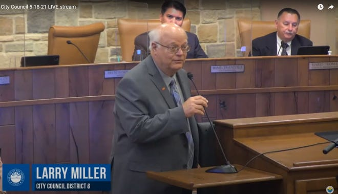 Larry Miller, who took his oath of office May 18, 2021, thanked his supporters and constituents of District 6 in this screenshot of the San Angelo City Council meeting streamed live on social media.