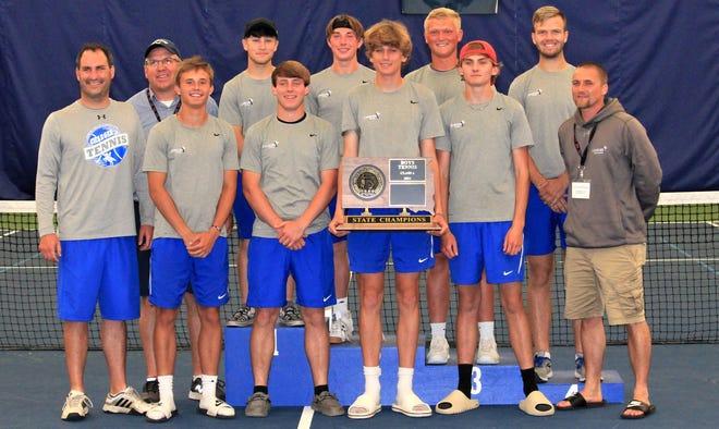 The Class A state champion Sioux Falls Christian tennis team.