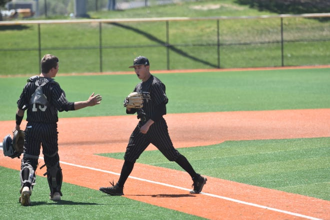 Kaden Terry steps off the mount after helping Desert Hills to beat Stansbury in the 4A state baseball playoffs.