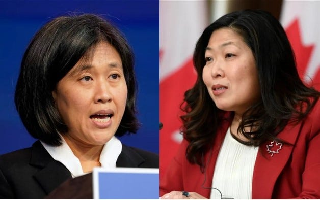 International Trade Minister Mary Ng, right, met virtually with her American counterpart, U.S. Trade Representative Katherine Tai on Monday.