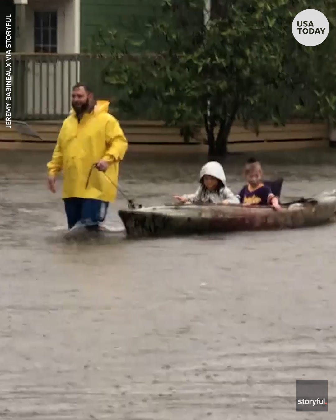 Dad uses kayak to pick up kids from school amid flooding in Lake Charles, Louisiana