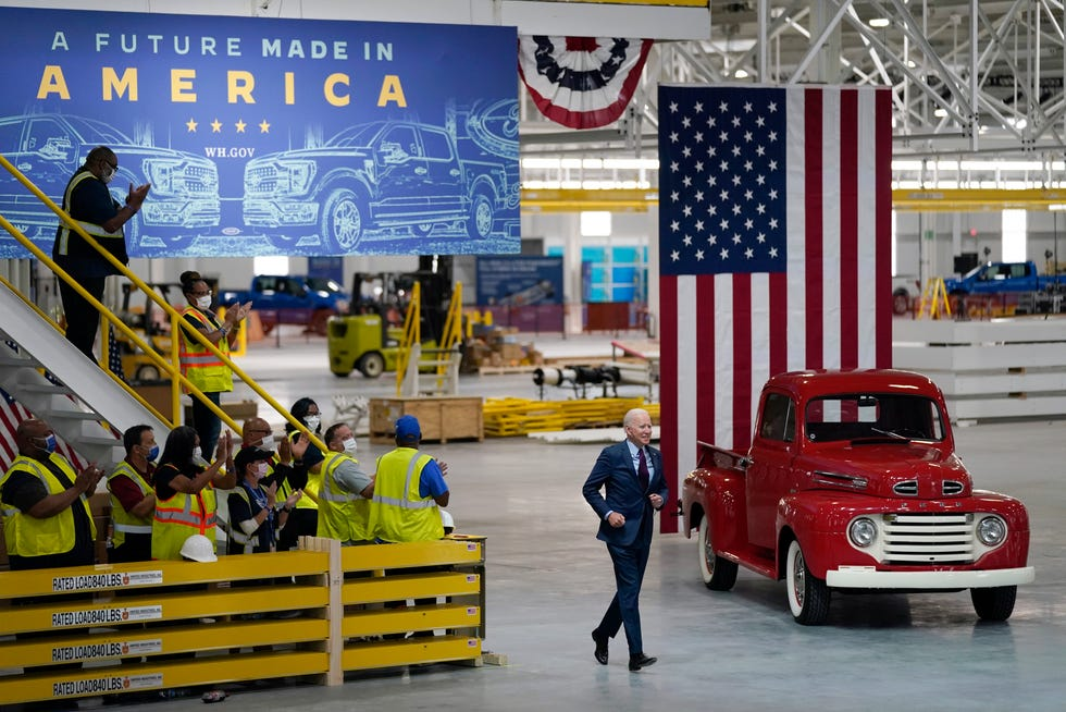 President Joe Biden arrives to speak after a tour of the Ford Rouge EV Center, Tuesday, May 18, 2021, in Dearborn, Mich.