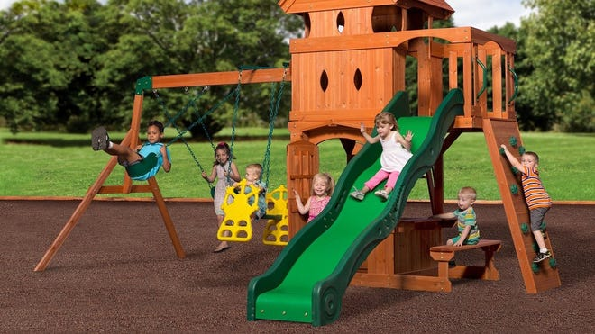 Backyard Discovery's cedar swing set is a favorite of parents.