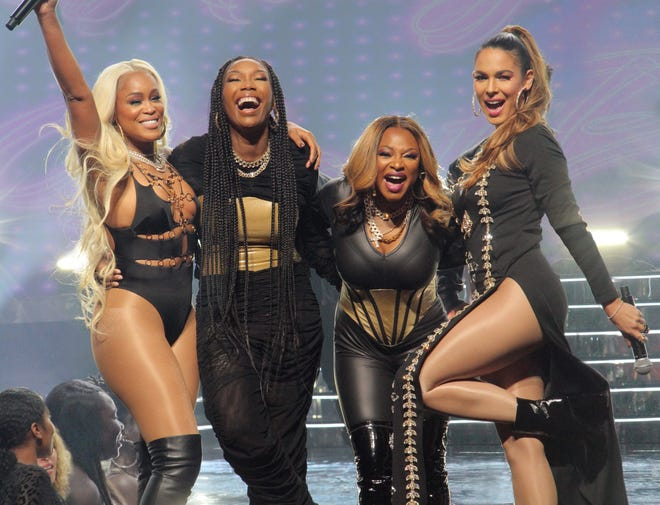 In 'Queens,' four fortysomething members of a former hip-hop group reunites in a quest to recapture their fame. Stars (from left) Eve, Brandy, Naturi Naughton and Nadine Velazquez.