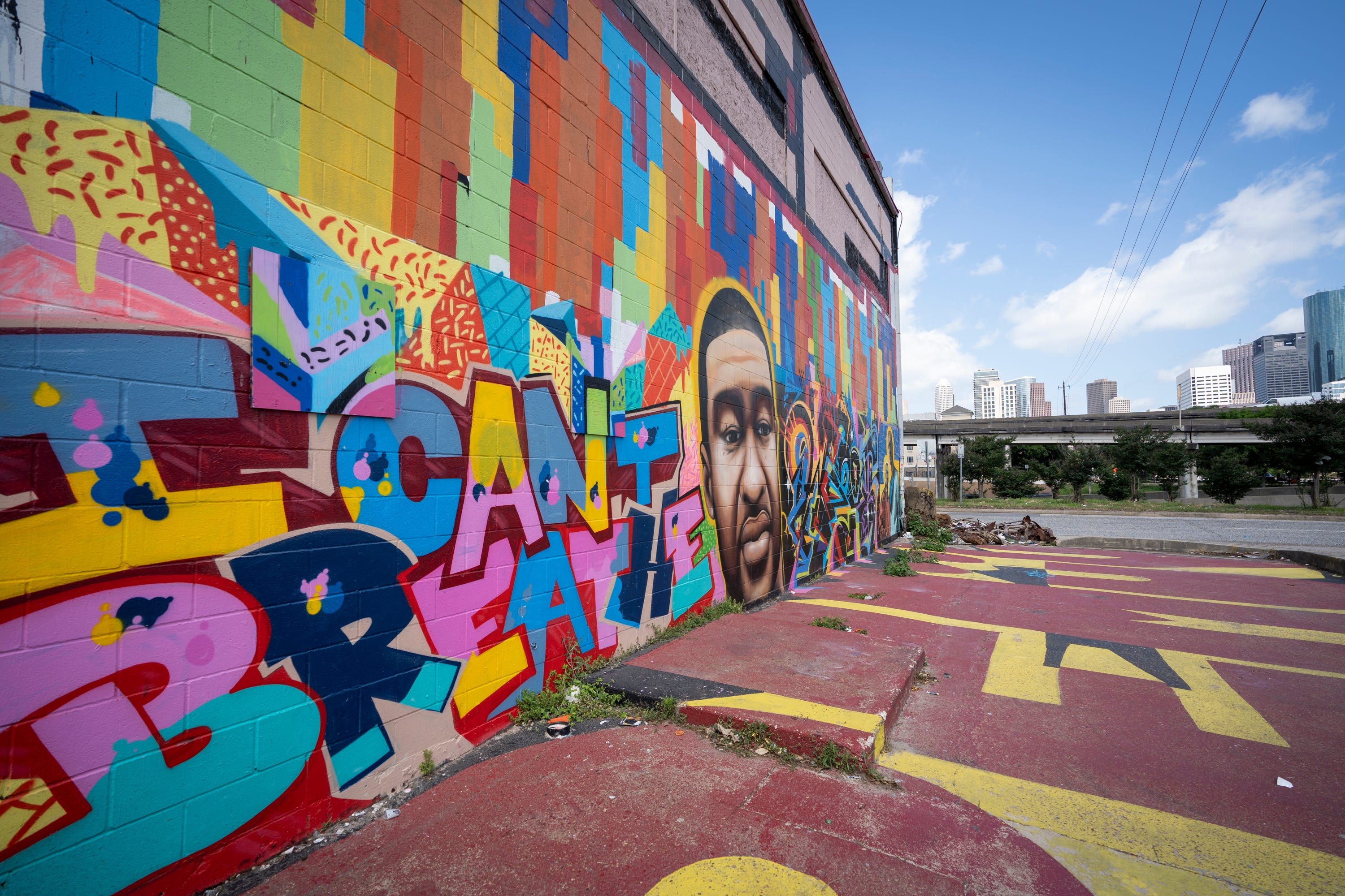 A mural of George Floyd adorns the Graffiti Building in Houston.