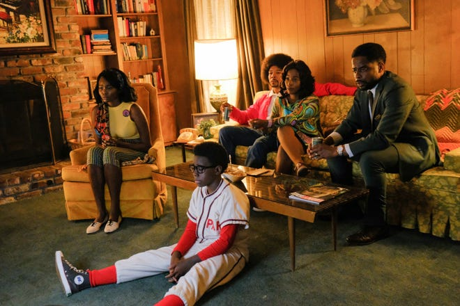 ABC's remake of 1988-93 nostalgic comedy 'The Wonder Years' remains set in the 1960s but is now set in Montgomery, Alabama, and a Black middle-class family through the lens of 12-year-old Dean (Elisha Williams, in baseball uniform.) Also stars (from left), Laura Kariuki, Allen Maldonado, Saycon Sengbloh and Dule Hill.