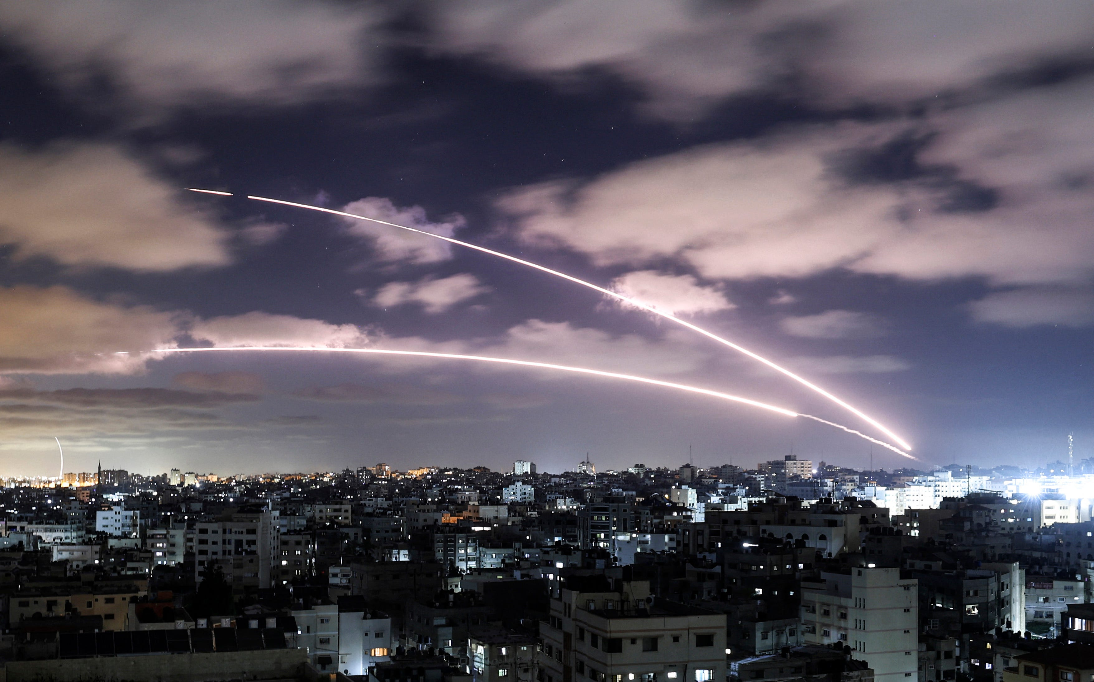 Rockets are launched towards Israel from Gaza City, controlled by the Palestinian Hamas movement, on May 18, 2021, amid a flare-up of Israeli-Palestinian violence.