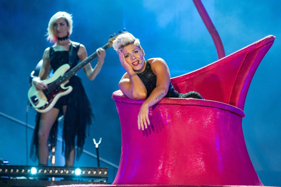 Pink performing on her Beautiful Trauma World Tour in Austin, Texas, in 2019.