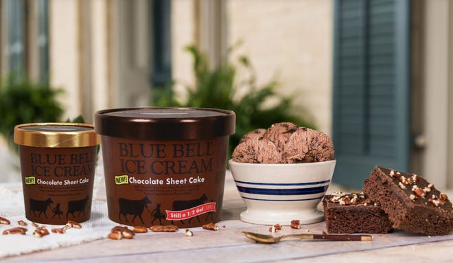 Blue Bell's newest flavor is Chocolate Sheet Cake, which includes chocolate ice cream, pecans and a chocolate swirl.