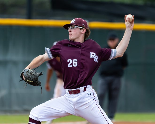 Round Rock junior Jacob Hadden, pitching against Hays earlier this month, said he was taught the mechanics of pitching while throwing off a homemade mound on his driveway when he was 9 years old.