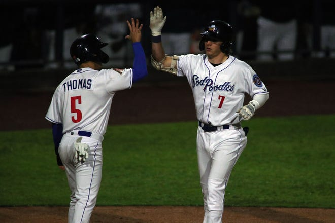 Alek Thomas' leadoff home run and two total runs for the Amarillo weren't enough to get the offense going as the Sod Poodles lost 7-3 in the series opener to the Frisco Rough Riders on July 20, 2021 at Hogdetown Stadium.