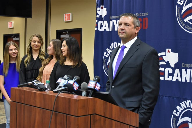 Todd Winfrey addresses media during his introductory press conference Wednesday, May 19 at the Canyon ISD Administration Building.