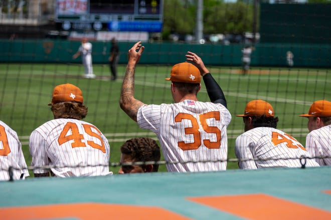 Texas pitcher Tristan Stevens, center, looks to pump up the crowd during a game against Texas Tech at UFCU Disch-Falk Field on May 2. After spending the last three years as a reliever, Stevens has settled in as a starter in the weekend rotation.